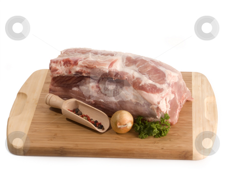 Pork meat stock photo, Fresh pork meat on white background by Birgit Reitz-Hofmann