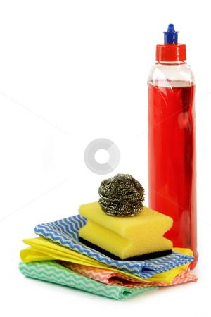 Dish washing stock photo, Dish washing products isolated on white by Birgit Reitz-Hofmann