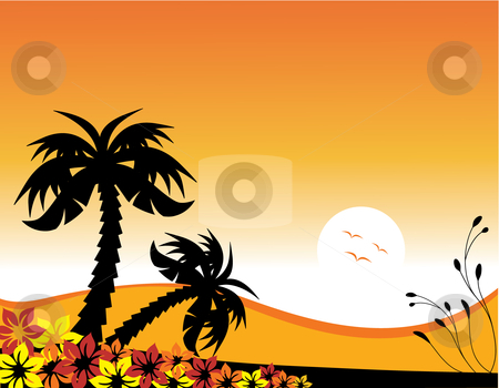 Palm Trees at Sunset stock vector clipart, Vector illustration of palm trees at the beach at sunset by Inge Schepers