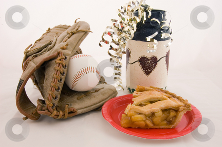 Baseball, Apple Pie and Americana stock photo, Closeup photo of a baseball mitt, baseball, apple pie on a red plate and an Americana primitive type vase with metallic gold twists, isolated on a white background. by Valerie Garner