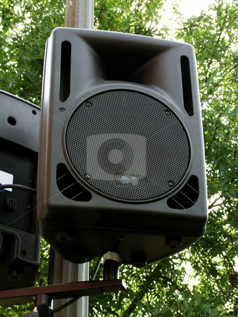 Outdoor speaker stock photo, Outdoor public loudspeakers i on green background by Birgit Reitz-Hofmann
