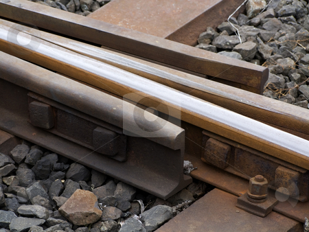 Detail from track stock photo, Detail from a train track at the countryside. by Birgit Reitz-Hofmann
