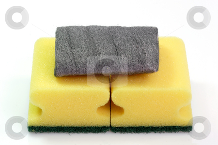 Scouring pad stock photo, Housework objects on bright background by Birgit Reitz-Hofmann