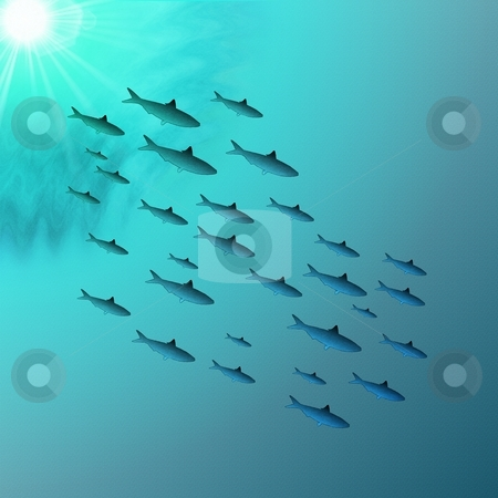 School of Fish Underwater stock photo, A school of fish swimming through peaceful sunlit water - a raster illustration. by Karen Carter