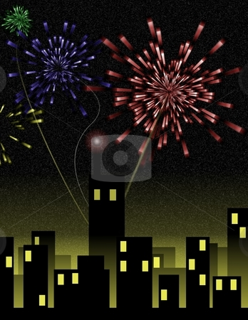 Fireworks Over City stock photo, Holiday fireworks burst over a night cityscape - a raster illustration. by Karen Carter