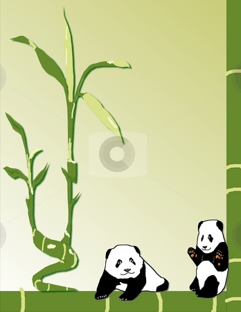 Baby Pandas with Bamboo stock photo, Two baby pandas happily sit surrounded by bamboo - a raster illustration. by Karen Carter