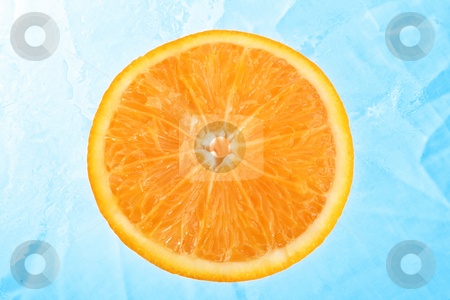 Orange over ice stock photo, Slice of orange over ICE like  background by iodrakon