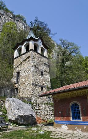 Church and clock tower stock photo, Preobrajenski Monastery near Veliko Turnovo Bulgaria (built in 14th century - collapsed through the ottoman - rebuilt in 19th century) by Desislava Dimitrova
