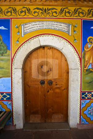Door stock photo, Preobrajenski Monastery near Veliko Turnovo Bulgaria (built in 14th century - collapsed through the ottoman - rebuilt in 19th century) by Desislava Dimitrova