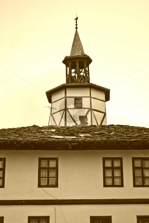 Tryavna clock tower stock photo, Tryavna and clock tower in sepia  by Desislava Dimitrova