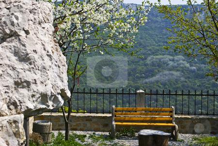 Bench in monastery stock photo, Preobrajenski Monastery near Veliko Turnovo Bulgaria (built in 14th century - collapsed through the ottoman - rebuilt in 19th century) by Desislava Dimitrova