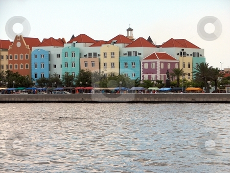 Colorful Buildings stock photo, Colorful Buildings line the seawall in historic Curacao, in the Dutch Antilles. by John Dickinson