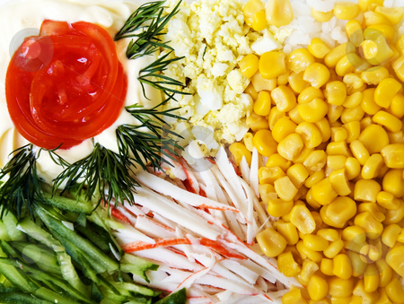 Salad with sweet corn, cucumber and crab meat stock photo, This is salad with sweet corn, cucumber and crab meat. by Larisa Chernysheva