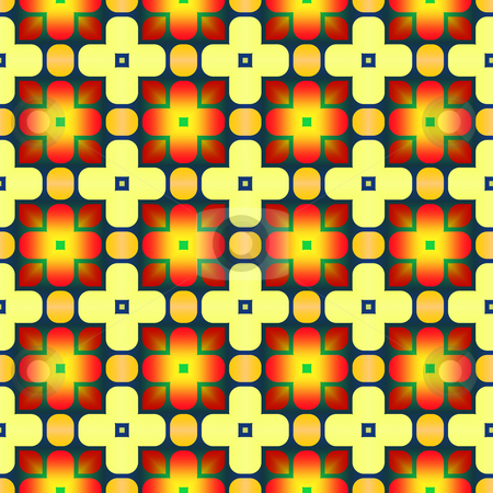 Festive pattern stock photo, Seamless texture with flower like ornaments in yellow and red by Wino Evertz
