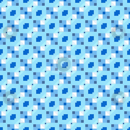 Blue repeating pattern stock photo, Seamless composition of repeating blue block tiles by Wino Evertz