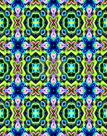 Fairy tale pattern stock photo, Seamless texture of repeating fantasy shapes in green and blue by Wino Evertz