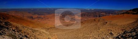 Panorama of Jordan stock photo, Panorama of desert mountains of Jordan by Damir Franusic