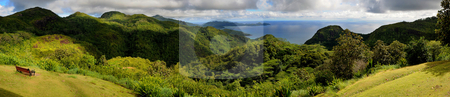 Panorama of Mahe, Seychelles stock photo, Panoramic view of Mahe island mountains, Seychelles by Damir Franusic
