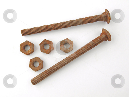 Rusty nuts and bolts stock photo, Two rusty bolts with four  old nuts. by Ian Langley