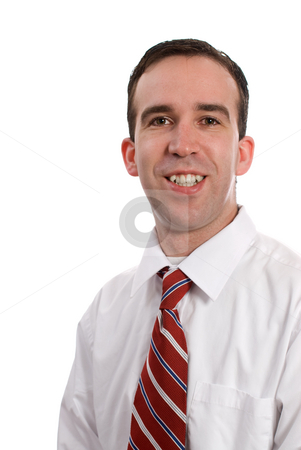 Closeup Business Portrait stock photo, Closeup businessman portrait with extra room to crop how you like, isolated against a white background by Richard Nelson