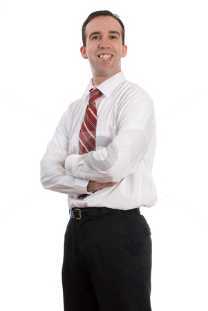 Happy Employee stock photo, A happy employee is standing with his arms crossed, isolated against a white background by Richard Nelson