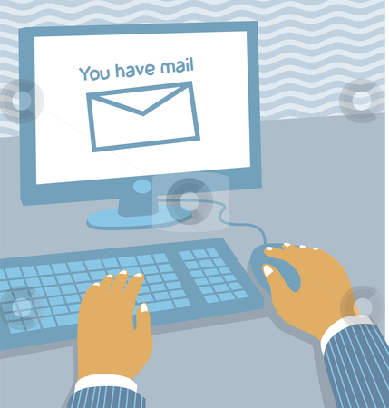 Workstation with email stock vector clipart, Illustration of a computer workstation at the office receiving email by Orven Enoveso