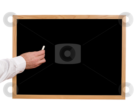 Blank Blackboard stock photo, Someone holding some chalk and about to write something on a blank blackboard by Richard Nelson