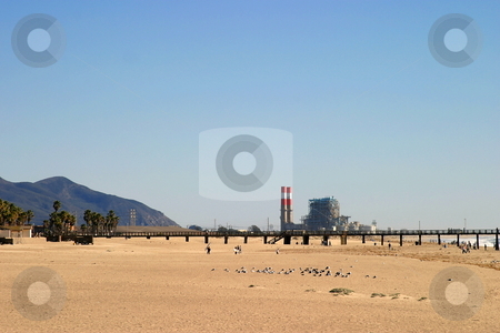 Power Station Beach stock photo, Power station at a beach in southern California by Henrik Lehnerer