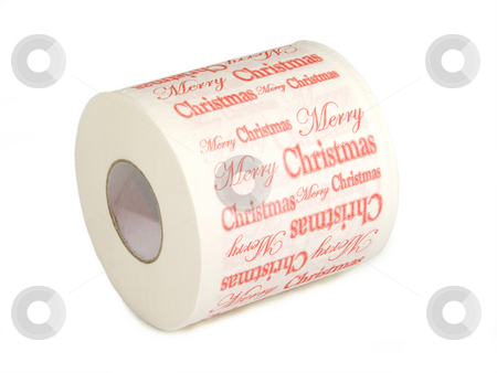 Merry christmas stock photo, Close up of toilet paper isolated on a white background by Birgit Reitz-Hofmann