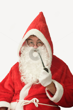 Santa with Pipe stock photo, Male caucasian model of santa claus smoking a pipe - isolated on white background by Birgit Reitz-Hofmann