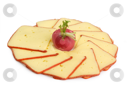 Cheese slices_1 stock photo, Cheese slices with radish on bright background by Birgit Reitz-Hofmann