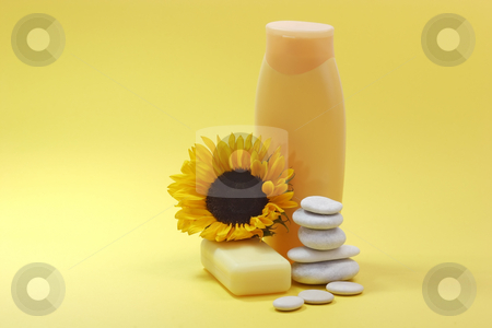 Body care_2 stock photo, Bath lotion and a sunflower on yellow background by Birgit Reitz-Hofmann