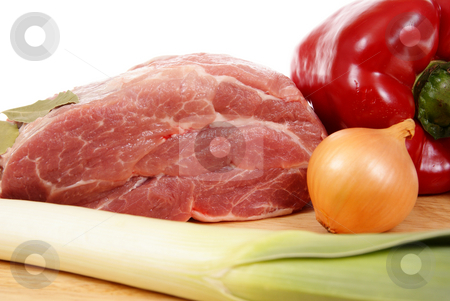 Meat stock photo, Fresh meat with vegetables isolated on white background by Jolanta Dabrowska