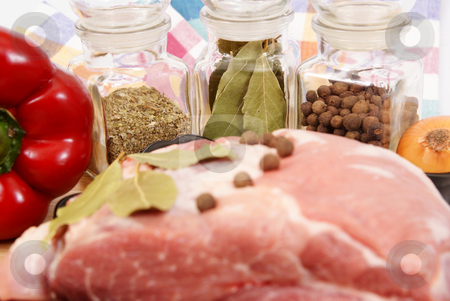 Meat stock photo, Neck from spice and peper made as background by Jolanta Dabrowska