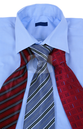 Dress shirt stock photo, Blue dress shirt with tie made as background by Jolanta Dabrowska