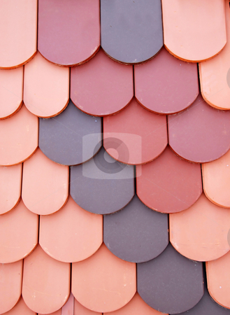 Various roof tiles stock photo, Building materials - red tiled roof background by Julija Sapic