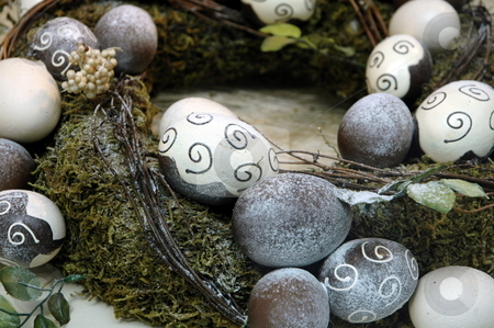 Decorative egg rocks stock photo, Rocks painted with designs and in egg formations by Gary Nicolson