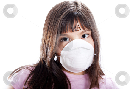 Prevention stock photo, Studio shot of young girl wearing protective mask, isolated on white by iodrakon