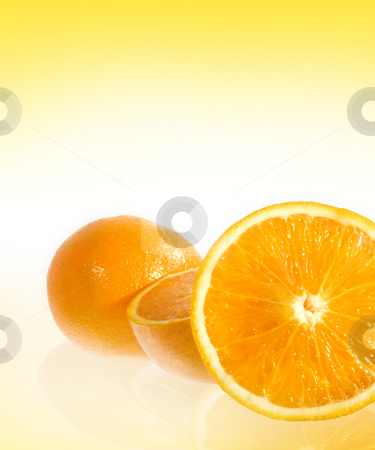 Oranges stock photo, Oranges over white/yellow gradient background with copy space by iodrakon