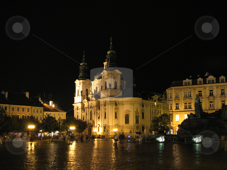 St. Nicholas Church by night stock photo, Prague - Old Town Square, St. Nicholas Church by Mihai Zaharia