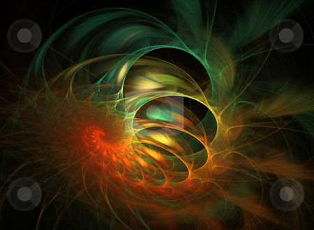 Colourful Coil Fractal stock photo, Colourful design element - spiral/coil flame based fractal by Helen Shorey