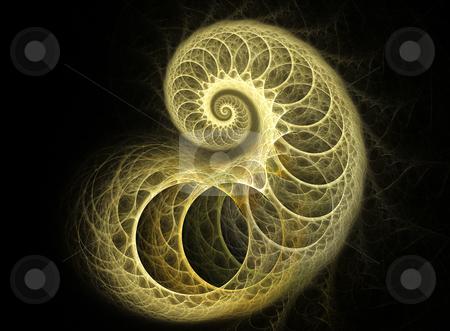 Coiled Cocoon Fractal stock photo, Spiral flame based fractal - design element for cards, pamphlets by Helen Shorey