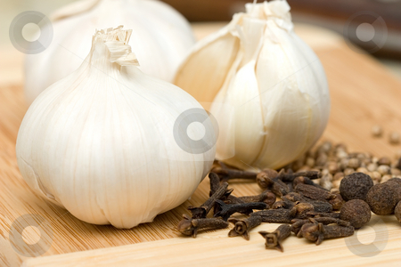 Garlic and spices stock photo, Garlic and spices by Andrey Butenko