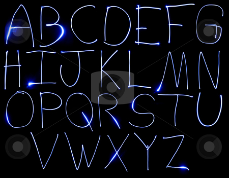 Neon Uppercase Alpabet stock photo, An alphabet set made from motion blurred light. by Travis Manley