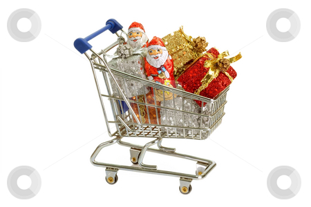 Chrismas shopping stock photo, Shopping trolley with chrismas gifts, isolated on white background by Birgit Reitz-Hofmann
