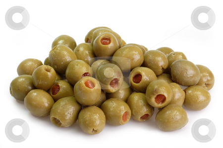 Green olives stock photo, Green olives on bright background by Birgit Reitz-Hofmann