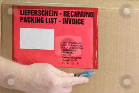 Invoice pad stock photo, Detail from a Packing on a package. by Birgit Reitz-Hofmann