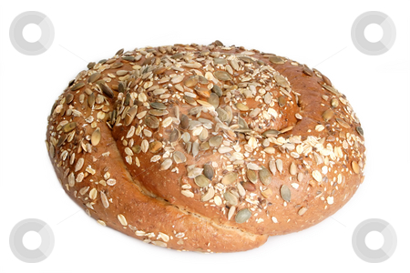 Bread stock photo, Bread with different seeds on white background. by Birgit Reitz-Hofmann