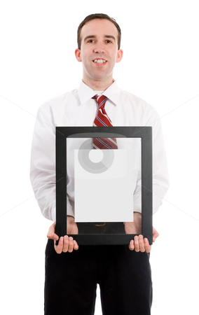 Man Holding Picture Frame stock photo, A young man wearing a suit and tie holding a picture frame with either your text or picture inside, isolated against a white background by Richard Nelson