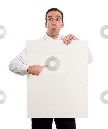 Paper Sign stock photo, A young man holding up a paper sign, which you can use for your text, isolated against a white background by Richard Nelson